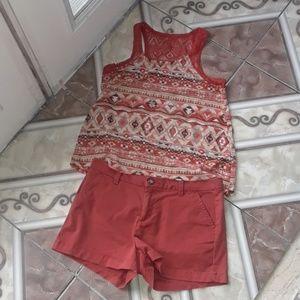 Orange-copper colored shorts w/sleeveless top